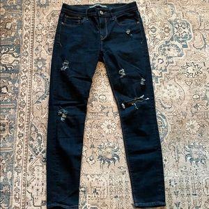 Express Dark Wash Distressed Skinny Jeans